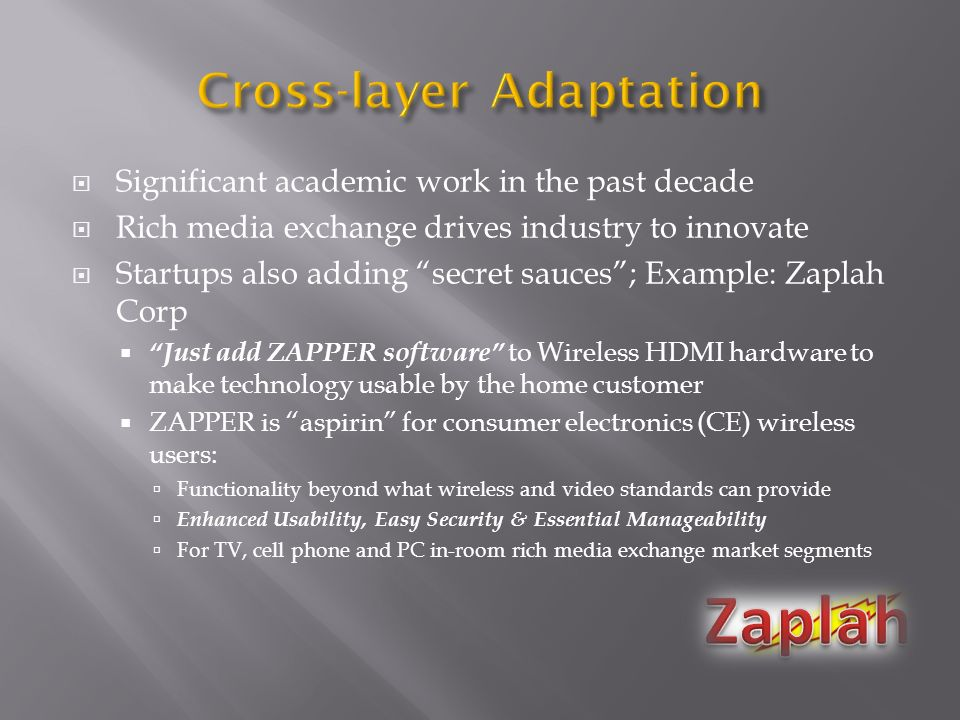 Significant academic work in the past decade Rich media exchange drives industry to innovate Startups also adding secret sauces; Example: Zaplah Corp Just add ZAPPER software to Wireless HDMI hardware to make technology usable by the home customer ZAPPER is aspirin for consumer electronics (CE) wireless users: Functionality beyond what wireless and video standards can provide Enhanced Usability, Easy Security & Essential Manageability For TV, cell phone and PC in-room rich media exchange market segments