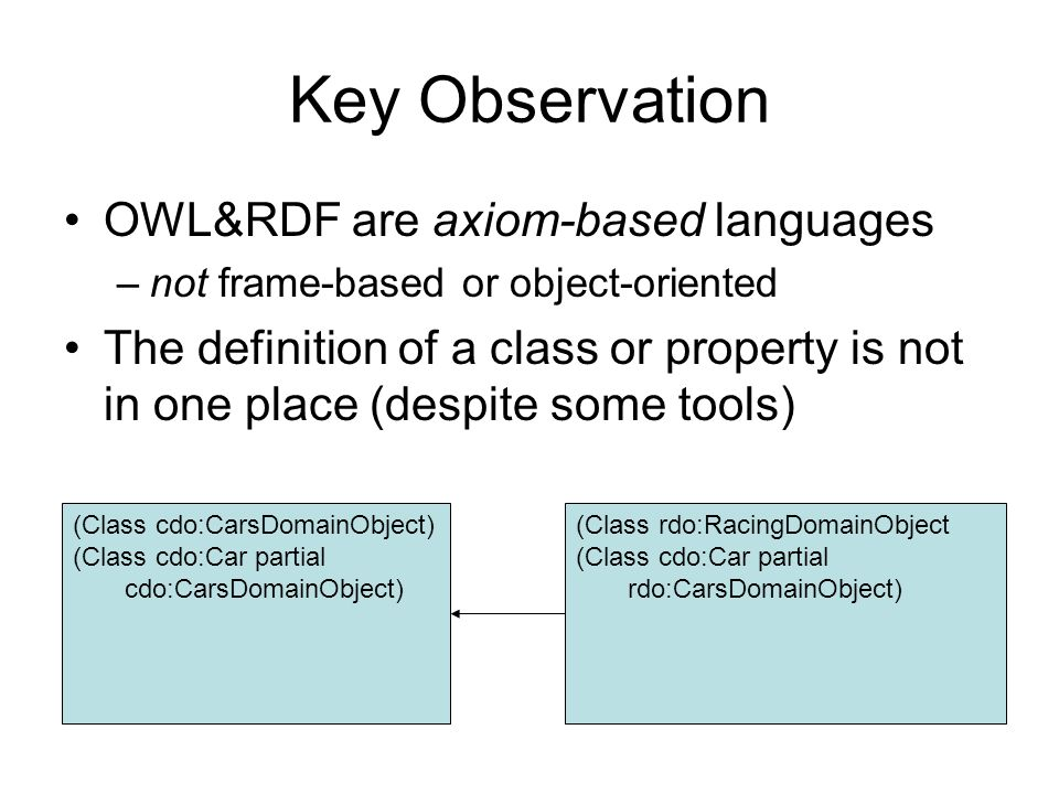 Key Observation OWL&RDF are axiom-based languages –not frame-based or object-oriented The definition of a class or property is not in one place (despi