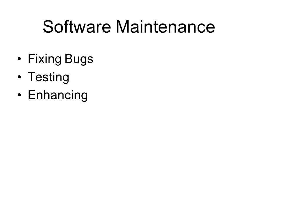 Software Maintenance Fixing Bugs Testing Enhancing