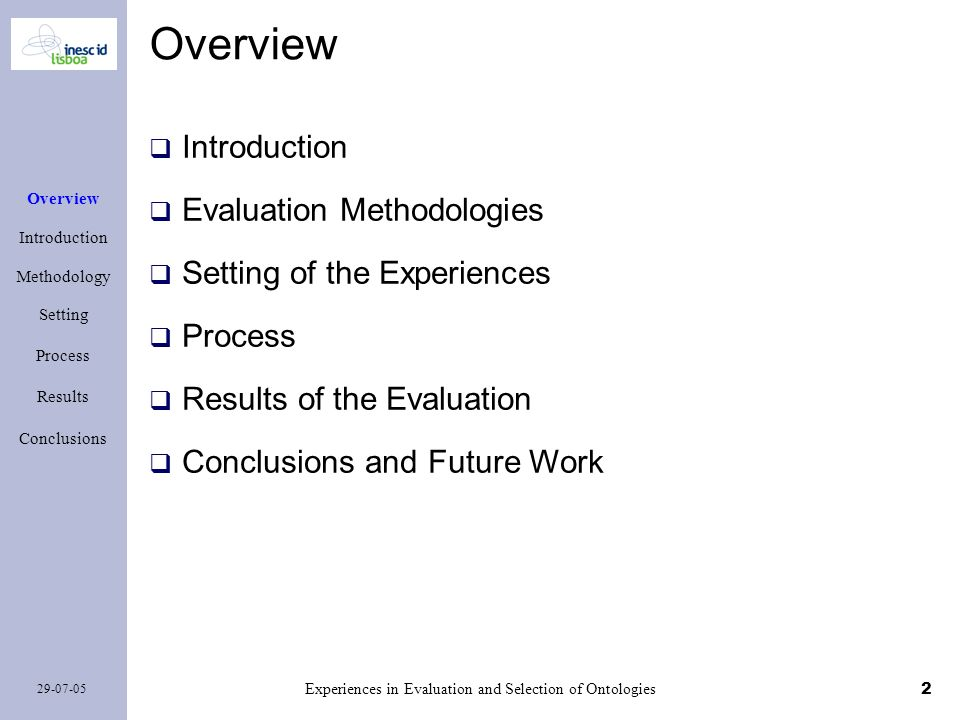 2 29-07-05 Experiences in Evaluation and Selection of Ontologies Overview Introduction Methodology Setting Process Results Conclusions Overview Introd