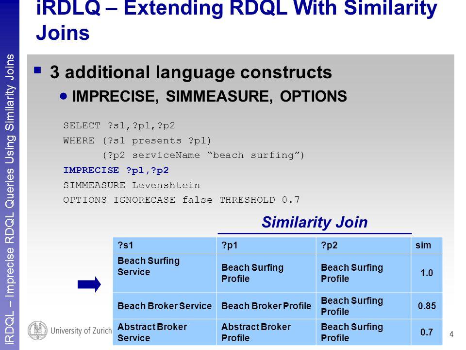 iRDQL – Imprecise RDQL Queries Using Similarity Joins 4 iRDLQ – Extending RDQL With Similarity Joins 3 additional language constructs IMPRECISE, SIMMEASURE, OPTIONS SELECT s1, p1, p2 WHERE ( s1 presents p1) ( p2 serviceName beach surfing) IMPRECISE p1, p2 SIMMEASURE Levenshtein OPTIONS IGNORECASE false THRESHOLD 0.7 s1 p1 p2sim Beach Surfing Service Beach Surfing Profile 1.0 Beach Broker ServiceBeach Broker Profile Beach Surfing Profile 0.85 Abstract Broker Service Abstract Broker Profile Beach Surfing Profile 0.7 Similarity Join