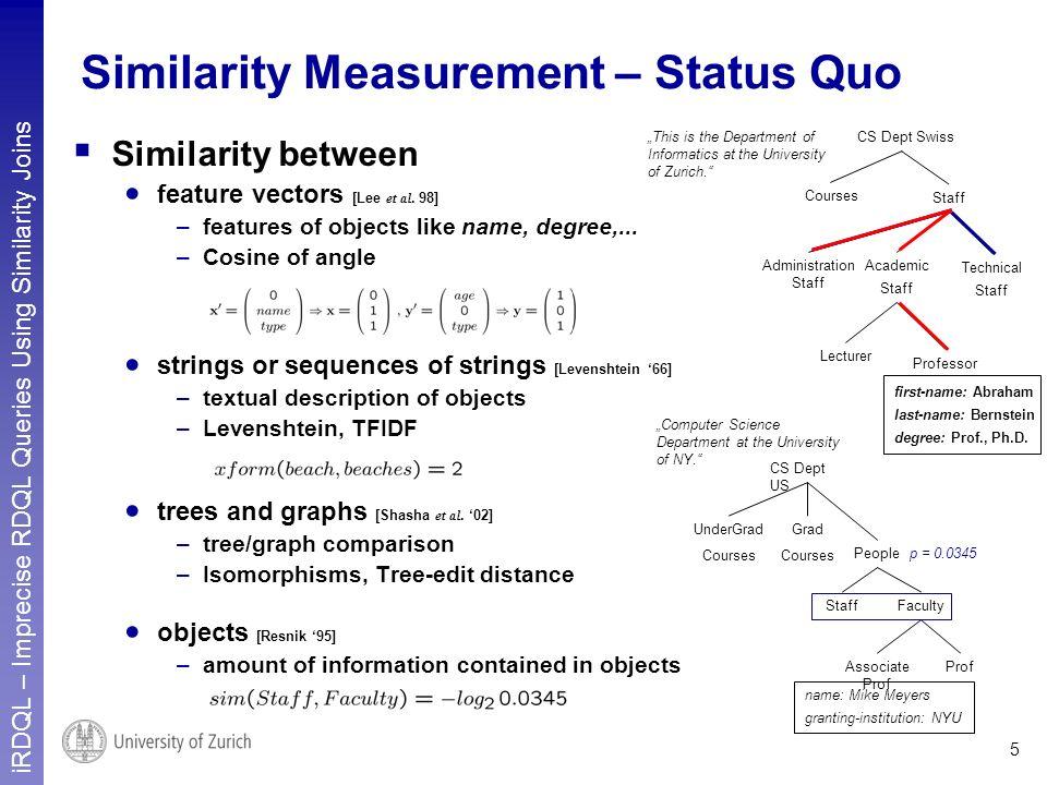 iRDQL – Imprecise RDQL Queries Using Similarity Joins 5 Similarity Measurement – Status Quo Similarity between feature vectors [Lee et al. 98] –featur