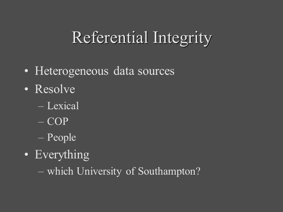 Referential Integrity Heterogeneous data sources Resolve –Lexical –COP –People Everything –which University of Southampton?