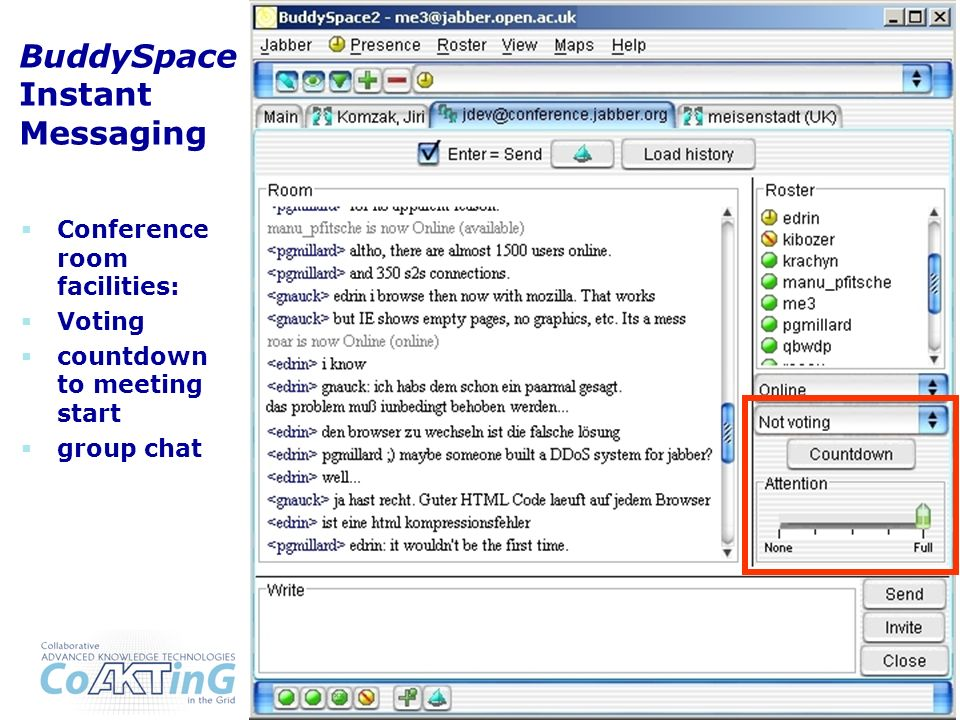 BuddySpace Instant Messaging Conference room facilities: Voting countdown to meeting start group chat