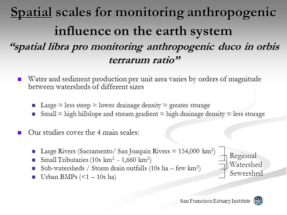 Spatial scales for monitoring anthropogenic influence on the earth systemspatial libra pro monitoring anthropogenic duco in orbis terrarum ratio Water