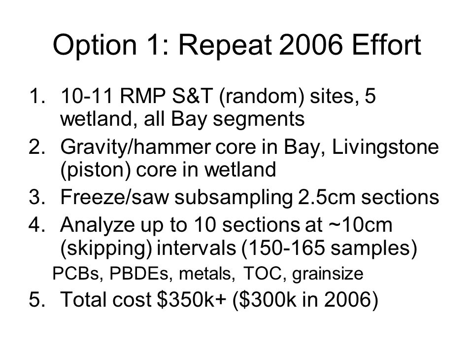 Option 1: Repeat 2006 Effort 1.10-11 RMP S&T (random) sites, 5 wetland, all Bay segments 2.Gravity/hammer core in Bay, Livingstone (piston) core in wetland 3.Freeze/saw subsampling 2.5cm sections 4.Analyze up to 10 sections at ~10cm (skipping) intervals (150-165 samples) PCBs, PBDEs, metals, TOC, grainsize 5.Total cost $350k+ ($300k in 2006)