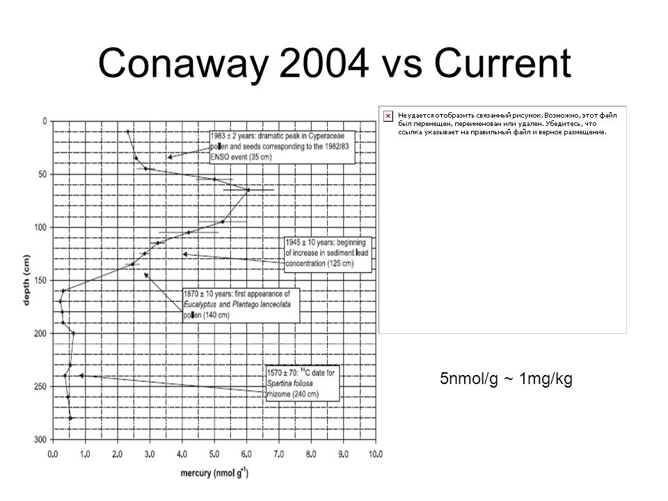 Conaway 2004 vs Current 5nmol/g ~ 1mg/kg