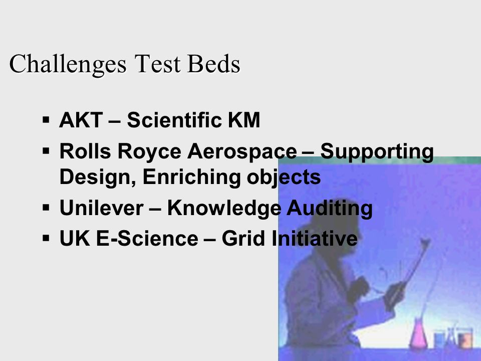 Challenges Test Beds AKT – Scientific KM Rolls Royce Aerospace – Supporting Design, Enriching objects Unilever – Knowledge Auditing UK E-Science – Grid Initiative