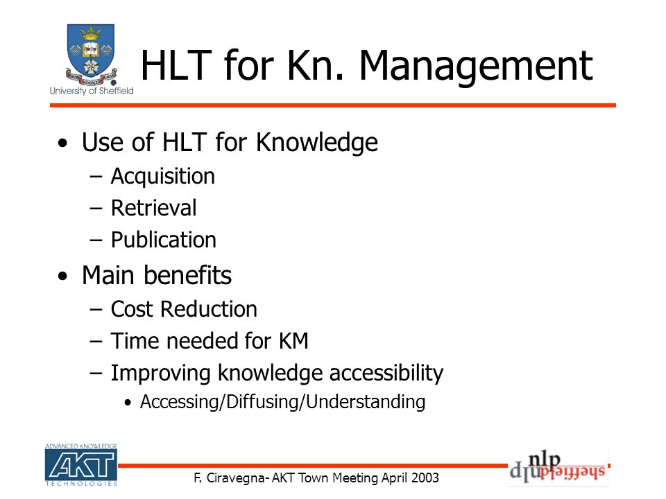 F. Ciravegna- AKT Town Meeting April 2003 HLT for Kn. Management Use of HLT for Knowledge –Acquisition –Retrieval –Publication Main benefits –Cost Red