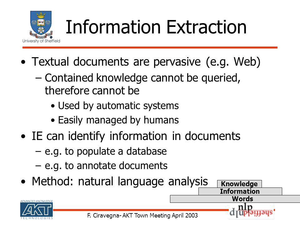 F. Ciravegna- AKT Town Meeting April 2003 Information Extraction Textual documents are pervasive (e.g. Web) –Contained knowledge cannot be queried, th