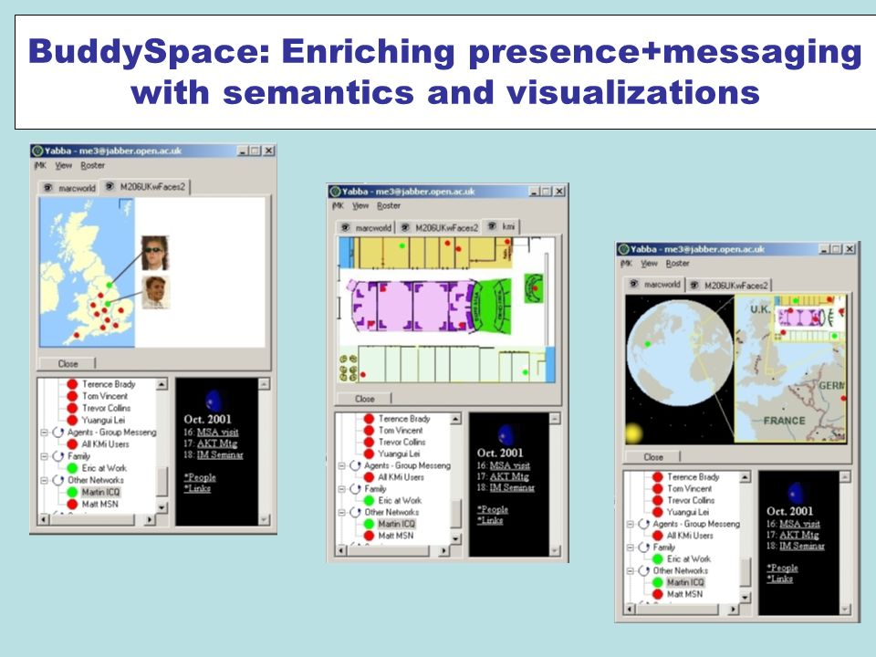 BuddySpace: Enriching presence+messaging with semantics and visualizations