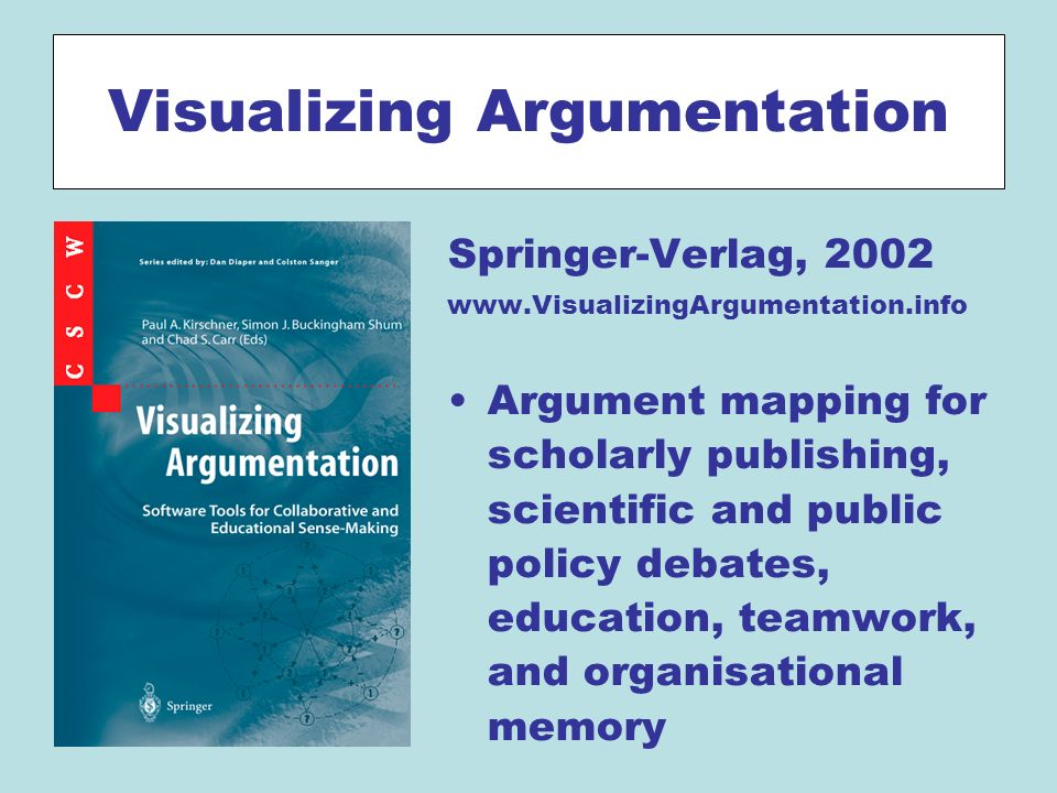 Visualizing Argumentation Springer-Verlag, 2002 www.VisualizingArgumentation.info Argument mapping for scholarly publishing, scientific and public policy debates, education, teamwork, and organisational memory