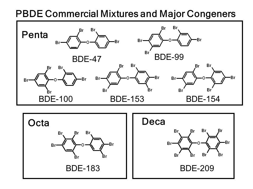 PBDEs Banned in California Ban on Penta and Octa mixtures, but not Deca, will be in effect on June 1, 2006 The ban might not be very effective at decreasing environmental PBDE concentrations North America use of PBDEs: Deca (75%), Penta (21%) and Octa (4%) of total mass Deca degrades to lower molecular weight PBDE congeners