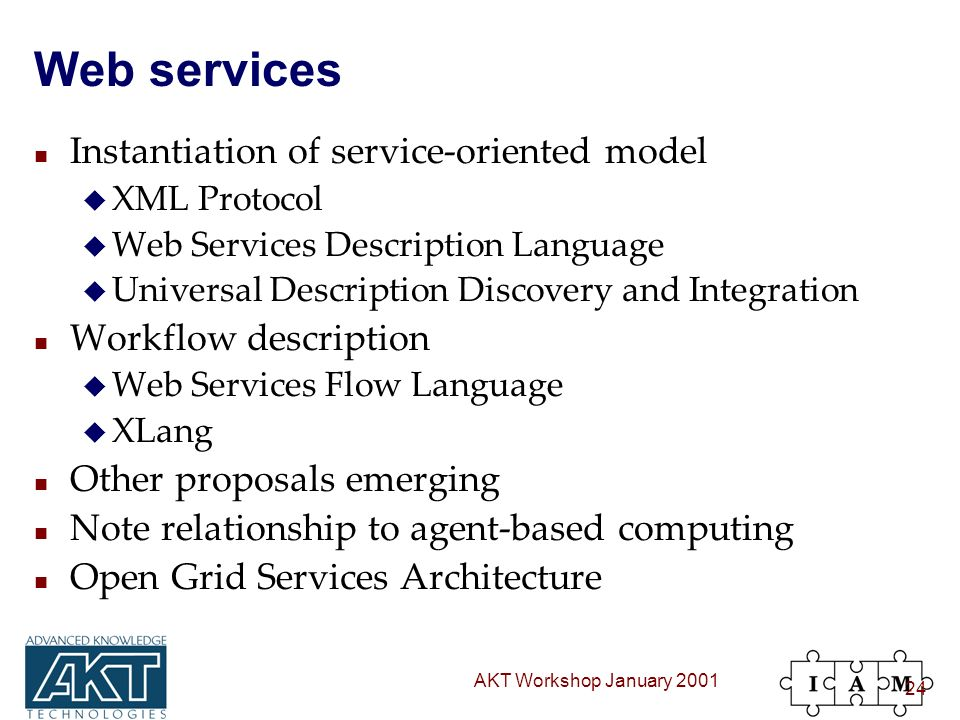 AKT Workshop January 2001 24 Web services n Instantiation of service-oriented model u XML Protocol u Web Services Description Language u Universal Description Discovery and Integration n Workflow description u Web Services Flow Language u XLang n Other proposals emerging n Note relationship to agent-based computing n Open Grid Services Architecture