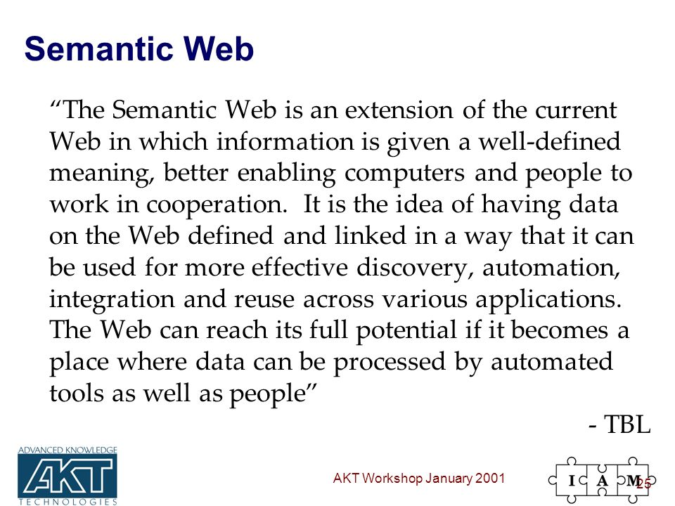 AKT Workshop January 2001 25 Semantic Web The Semantic Web is an extension of the current Web in which information is given a well-defined meaning, better enabling computers and people to work in cooperation.