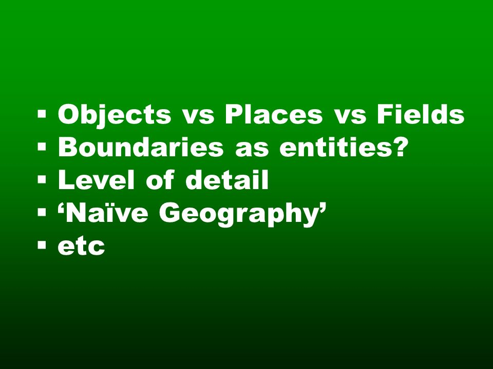 Objects vs Places vs Fields Boundaries as entities Level of detail Naïve Geography etc