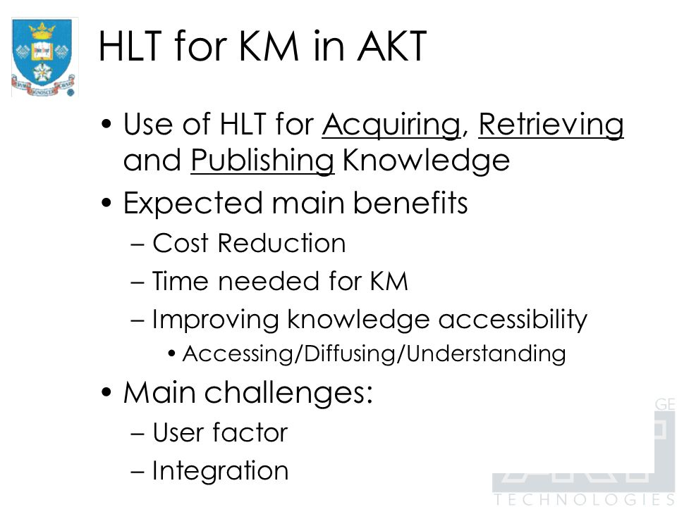 HLT in AKT Knowledge acquisition retrieval publishing Text miningX Information Extraction XX from Text ClassificationXX SummarizationX Text GenerationX Question XX Answering
