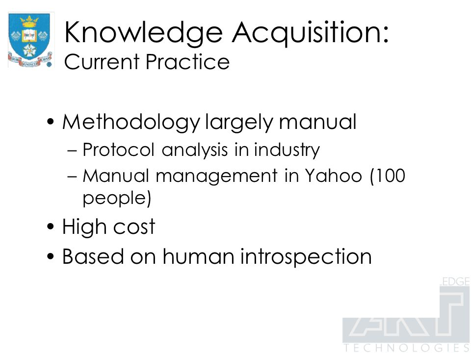 Knowledge Acquisition: Current Practice Methodology largely manual –Protocol analysis in industry –Manual management in Yahoo (100 people) High cost Based on human introspection