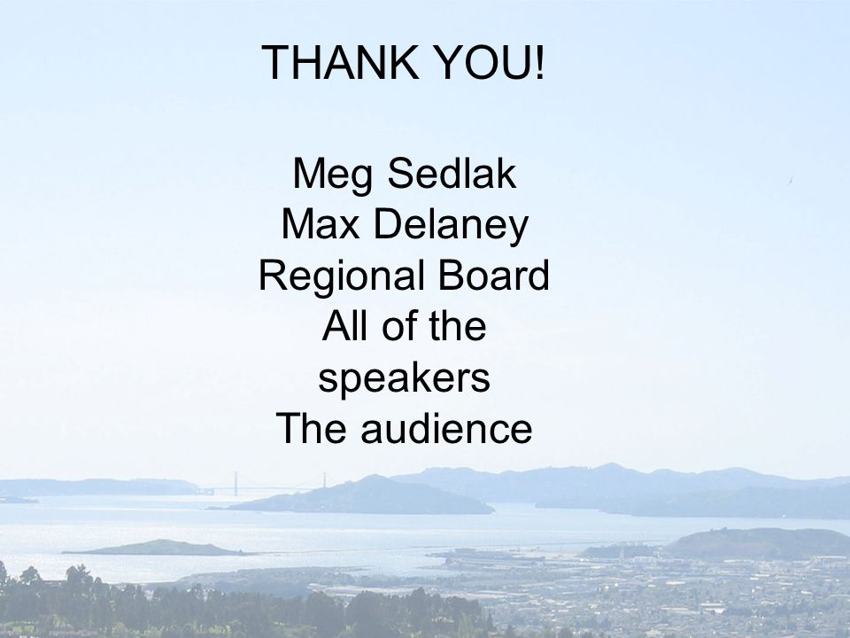THANK YOU! Meg Sedlak Max Delaney Regional Board All of the speakers The audience