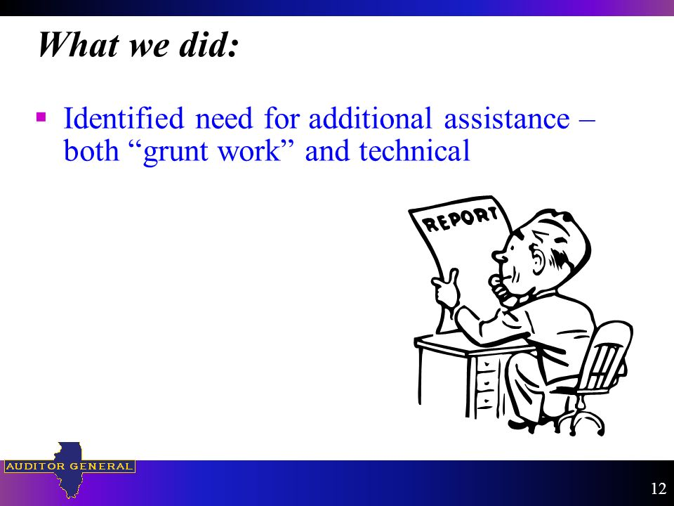 Identified need for additional assistance – both grunt work and technical What we did: 12