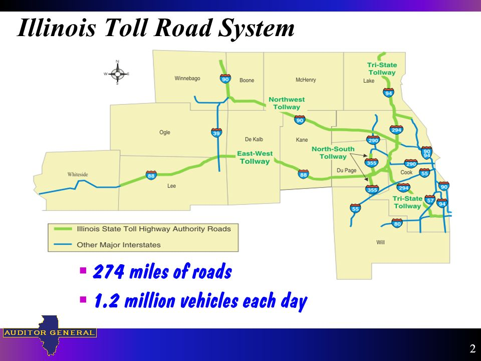 Illinois Toll Road System 274 miles of roads 1.2 million vehicles each day 2