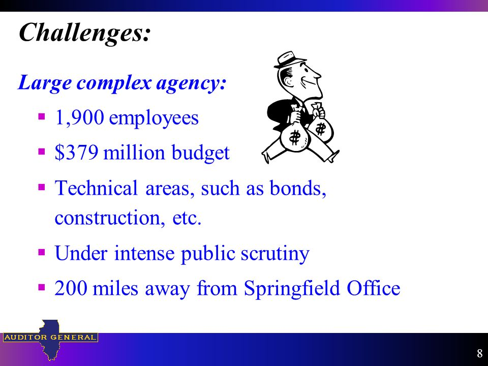 Challenges: Large complex agency: 1,900 employees $379 million budget Technical areas, such as bonds, construction, etc.