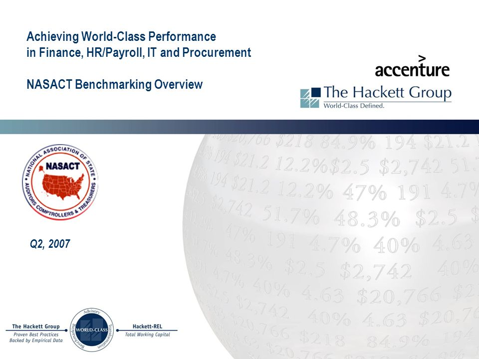 Achieving World-Class Performance in Finance, HR/Payroll, IT and Procurement NASACT Benchmarking Overview Q2, 2007