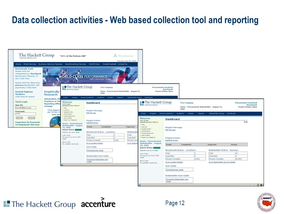 Page 12 Data collection activities - Web based collection tool and reporting