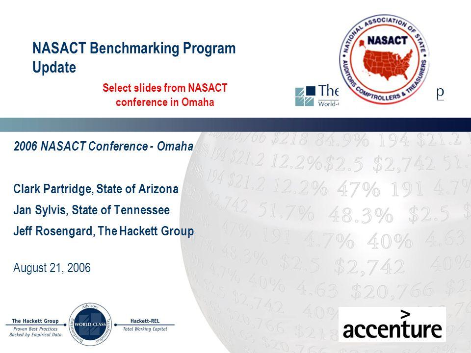 NASACT Benchmarking Program Update 2006 NASACT Conference - Omaha Clark Partridge, State of Arizona Jan Sylvis, State of Tennessee Jeff Rosengard, The