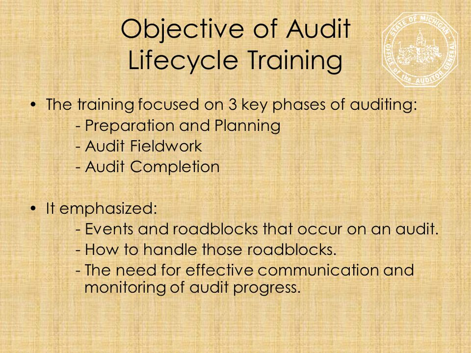 Objective of Audit Lifecycle Training The training focused on 3 key phases of auditing: - Preparation and Planning - Audit Fieldwork - Audit Completio