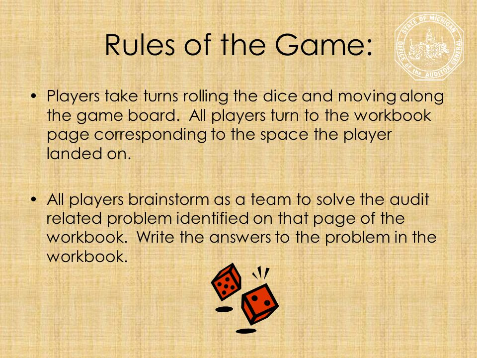 Rules of the Game: Players take turns rolling the dice and moving along the game board. All players turn to the workbook page corresponding to the spa