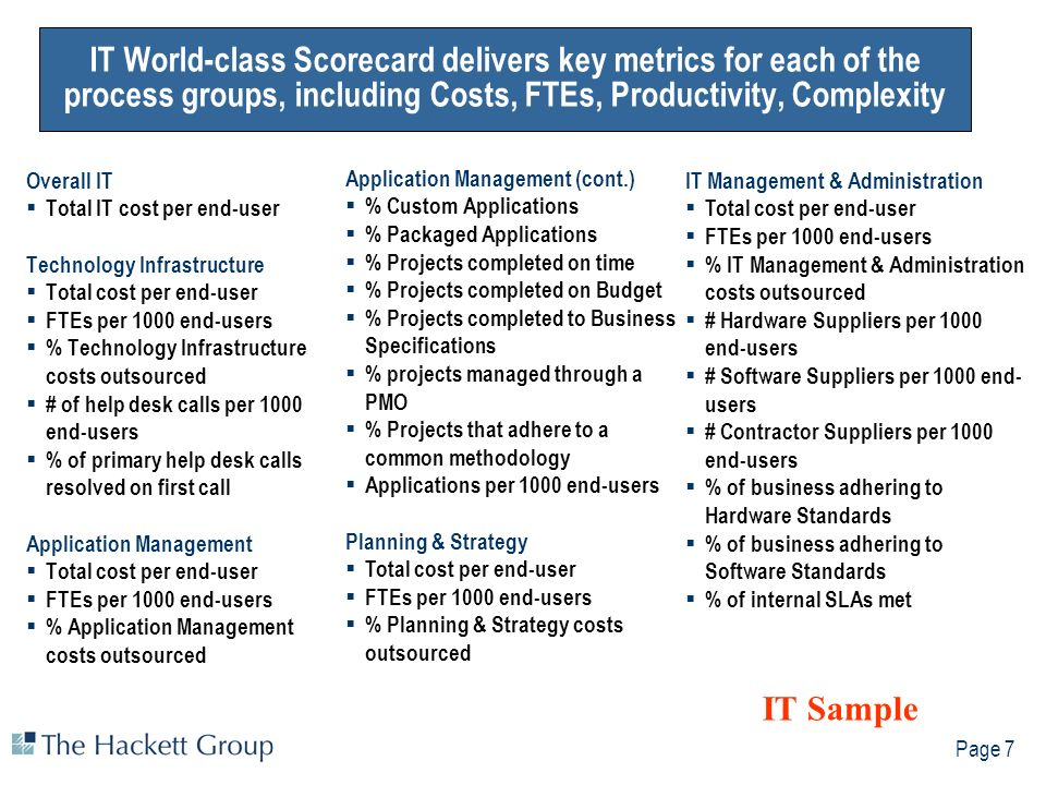 Page 7 IT World-class Scorecard delivers key metrics for each of the process groups, including Costs, FTEs, Productivity, Complexity Overall IT Total IT cost per end-user Technology Infrastructure Total cost per end-user FTEs per 1000 end-users % Technology Infrastructure costs outsourced # of help desk calls per 1000 end-users % of primary help desk calls resolved on first call Application Management Total cost per end-user FTEs per 1000 end-users % Application Management costs outsourced Application Management (cont.) % Custom Applications % Packaged Applications % Projects completed on time % Projects completed on Budget % Projects completed to Business Specifications % projects managed through a PMO % Projects that adhere to a common methodology Applications per 1000 end-users Planning & Strategy Total cost per end-user FTEs per 1000 end-users % Planning & Strategy costs outsourced IT Management & Administration Total cost per end-user FTEs per 1000 end-users % IT Management & Administration costs outsourced # Hardware Suppliers per 1000 end-users # Software Suppliers per 1000 end- users # Contractor Suppliers per 1000 end-users % of business adhering to Hardware Standards % of business adhering to Software Standards % of internal SLAs met IT Sample