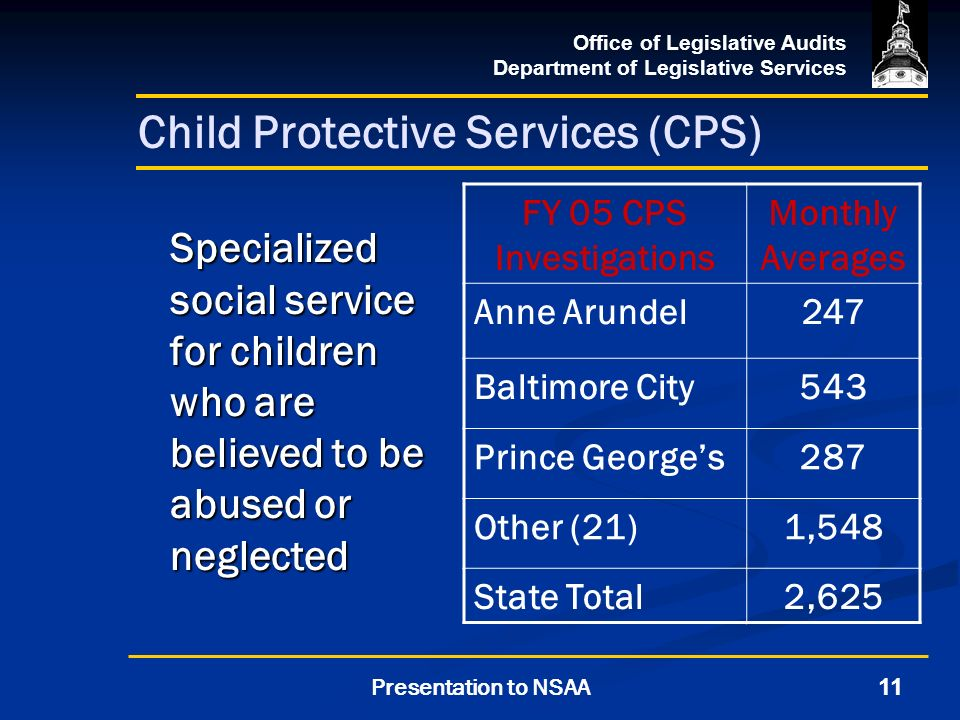Office of Legislative Audits Department of Legislative Services 11Presentation to NSAA Child Protective Services (CPS) Specialized social service for children who are believed to be abused or neglected FY 05 CPS Investigations Monthly Averages Anne Arundel247 Baltimore City543 Prince Georges287 Other (21)1,548 State Total2,625
