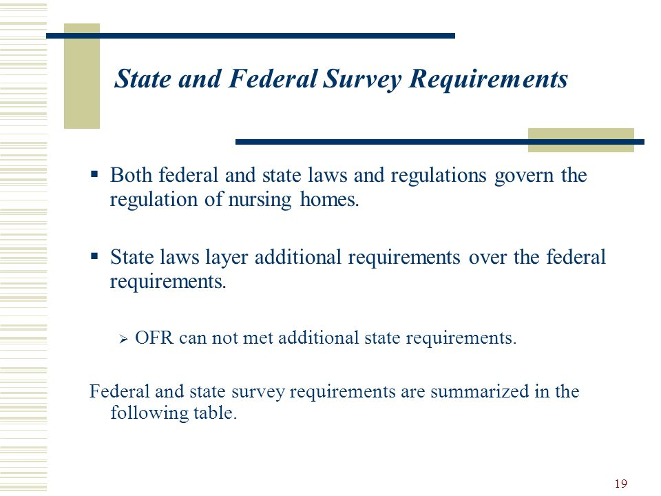 19 State and Federal Survey Requirements Both federal and state laws and regulations govern the regulation of nursing homes. State laws layer addition