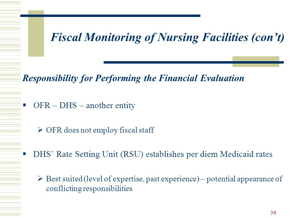 36 Fiscal Monitoring of Nursing Facilities (cont) Responsibility for Performing the Financial Evaluation OFR – DHS – another entity OFR does not emplo