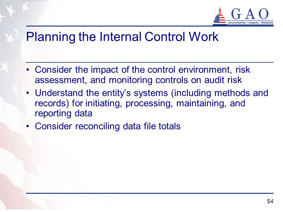 54 Planning the Internal Control Work Consider the impact of the control environment, risk assessment, and monitoring controls on audit risk Understan