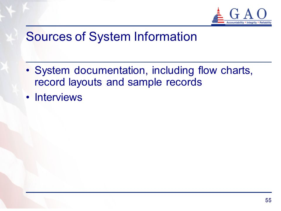 55 Sources of System Information System documentation, including flow charts, record layouts and sample records Interviews