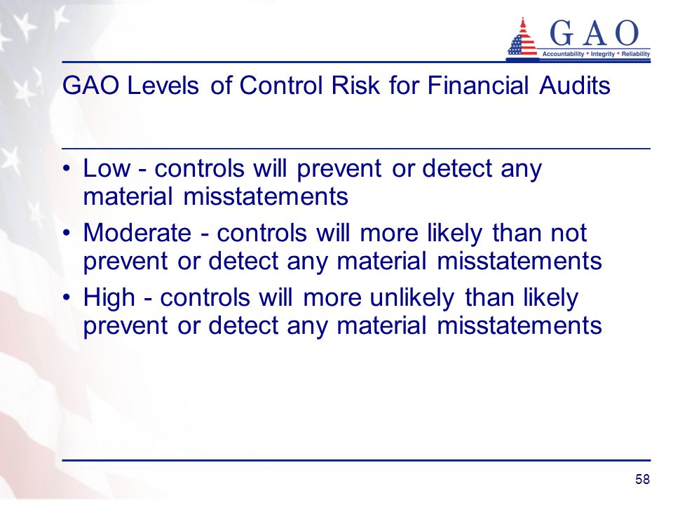 58 GAO Levels of Control Risk for Financial Audits Low - controls will prevent or detect any material misstatements Moderate - controls will more like
