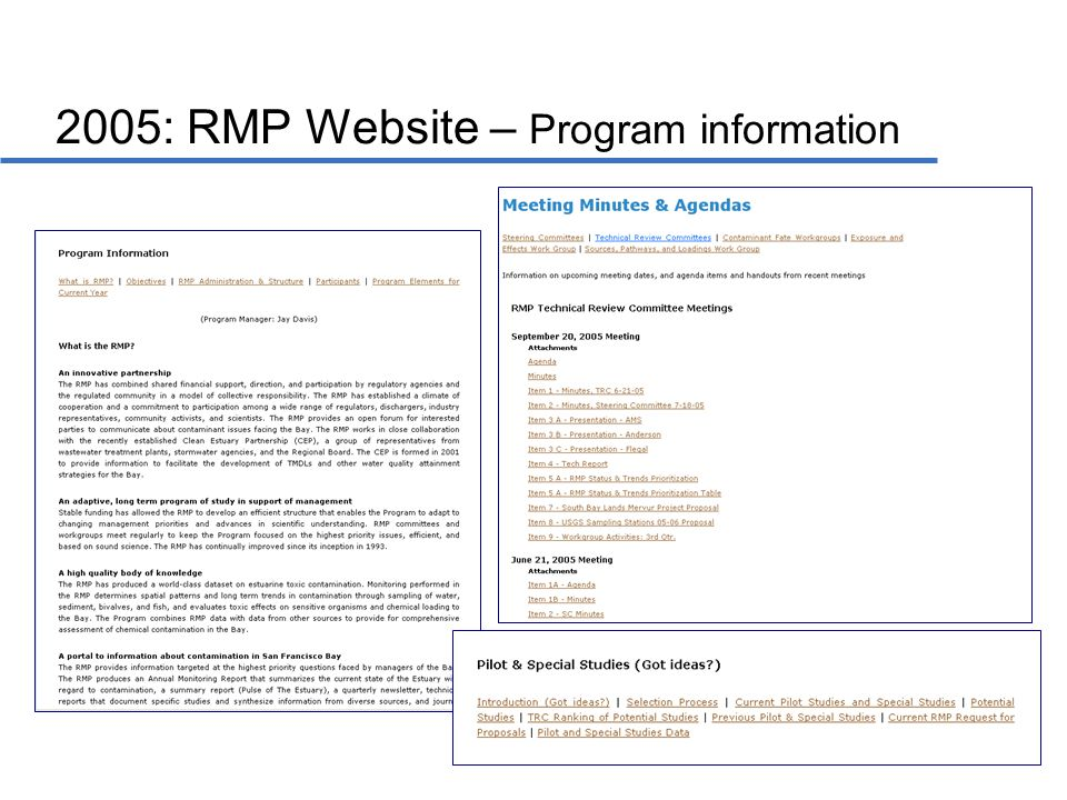 2005: RMP Website – Program information