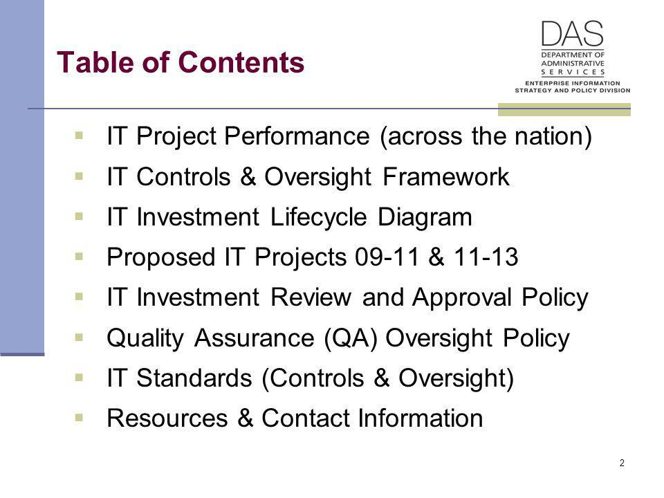 2 Table of Contents IT Project Performance (across the nation) IT Controls & Oversight Framework IT Investment Lifecycle Diagram Proposed IT Projects 09-11 & 11-13 IT Investment Review and Approval Policy Quality Assurance (QA) Oversight Policy IT Standards (Controls & Oversight) Resources & Contact Information