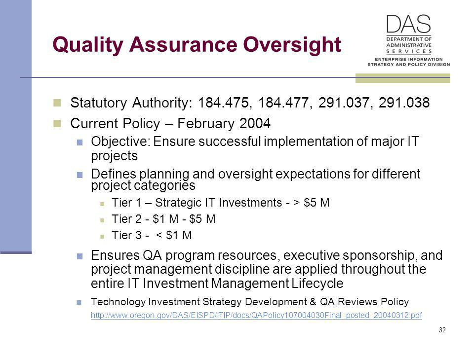 32 Quality Assurance Oversight Statutory Authority: 184.475, 184.477, 291.037, 291.038 Current Policy – February 2004 Objective: Ensure successful imp