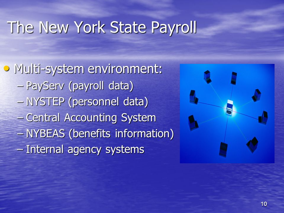 9 The New York State Payroll Collaborative Processing Environment 250 state agencies 250 state agencies Nearly 500 separate payrolls Nearly 500 separa