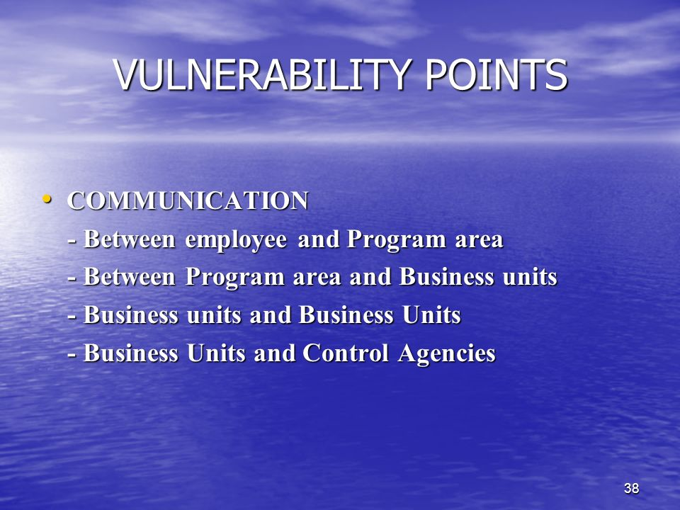 37 VULNERABILITY POINTS PEOPLE PEOPLE - Hired employee - Hired employee - Lack of understanding of roles - Lack of understanding of roles - Lack of un