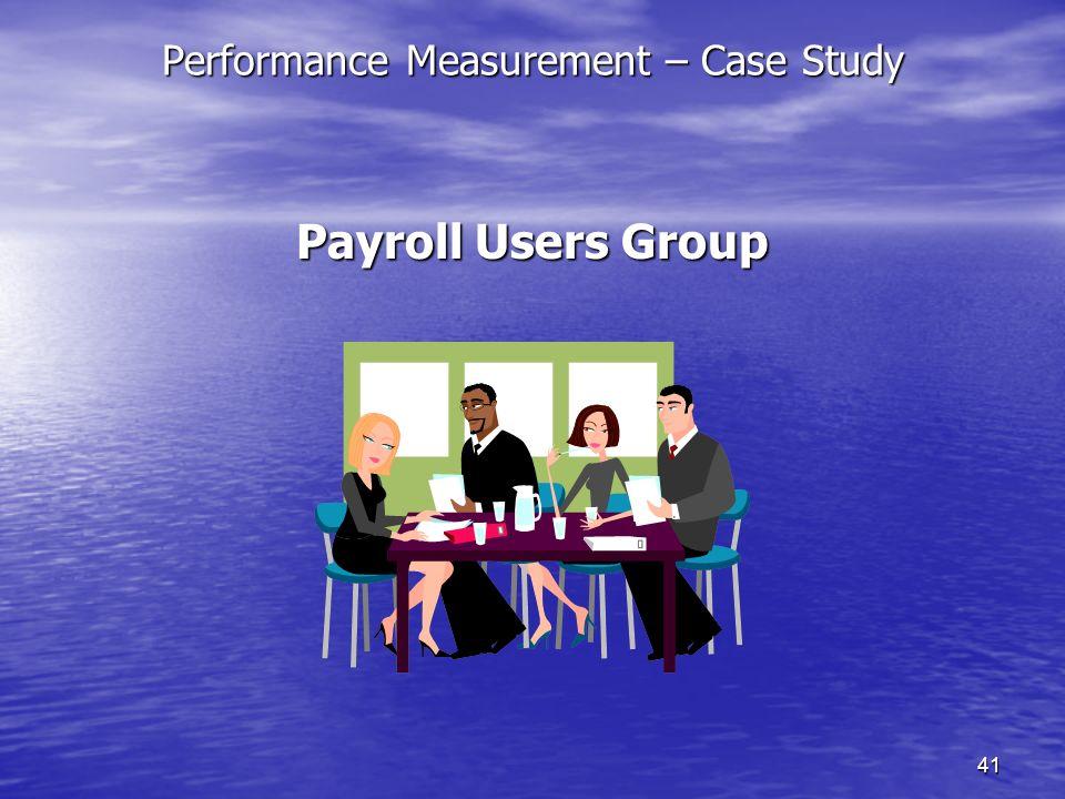 40 Performance Measurement – Case Study The Partnership