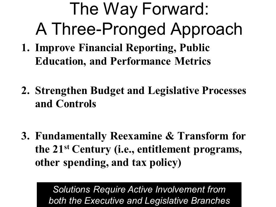 The Way Forward: A Three-Pronged Approach 1.Improve Financial Reporting, Public Education, and Performance Metrics 2.Strengthen Budget and Legislative