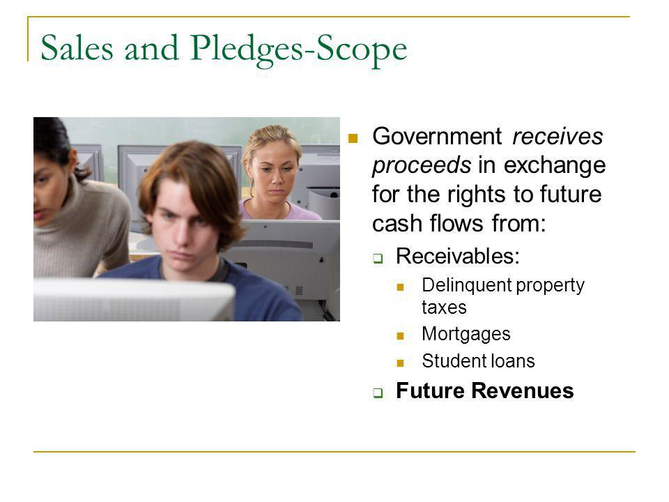 Sales and Pledges-Scope Government receives proceeds in exchange for the rights to future cash flows from: Receivables: Delinquent property taxes Mortgages Student loans Future Revenues