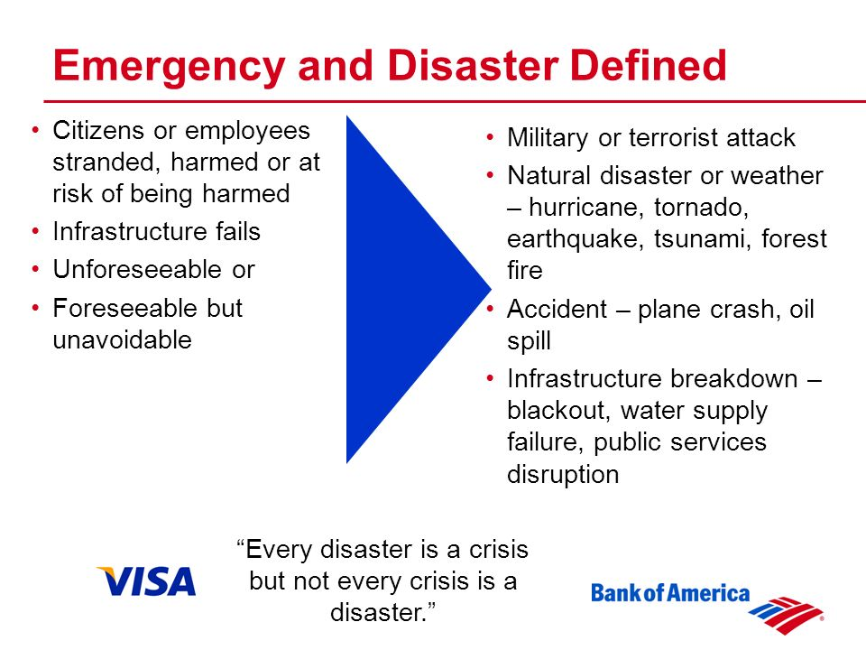 Citizens or employees stranded, harmed or at risk of being harmed Infrastructure fails Unforeseeable or Foreseeable but unavoidable Military or terrorist attack Natural disaster or weather – hurricane, tornado, earthquake, tsunami, forest fire Accident – plane crash, oil spill Infrastructure breakdown – blackout, water supply failure, public services disruption Every disaster is a crisis but not every crisis is a disaster.