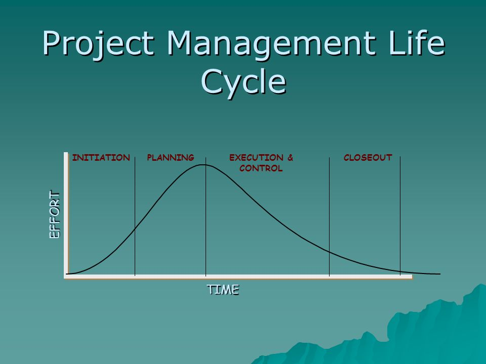 TIME EFFORT PLANNINGEXECUTION & CONTROL CLOSEOUTINITIATION Project Management Life Cycle