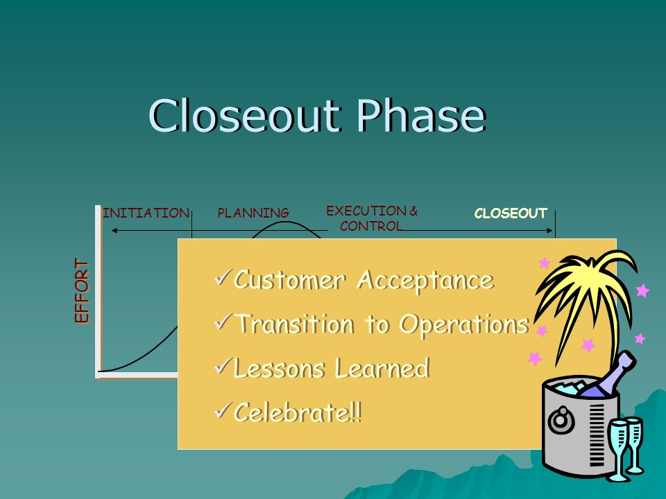 TIME EFFORT PLANNING EXECUTION & CONTROL CLOSEOUTINITIATION Customer Acceptance Transition to Operations Lessons Learned Closeout Phase Celebrate!!