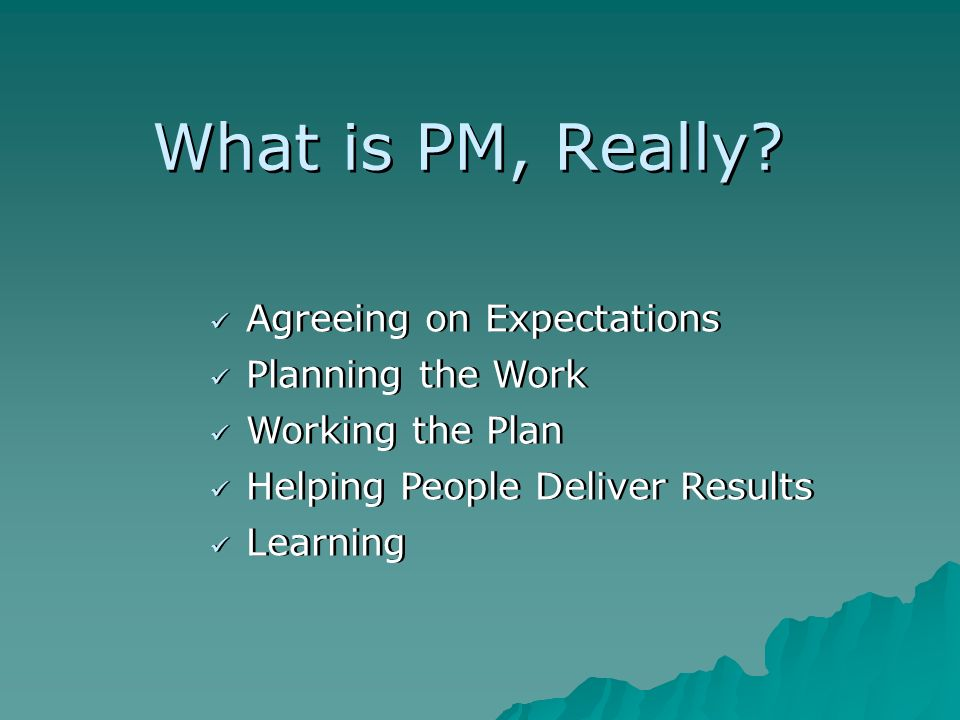 What is PM, Really? Agreeing on Expectations Planning the Work Learning Working the Plan Helping People Deliver Results
